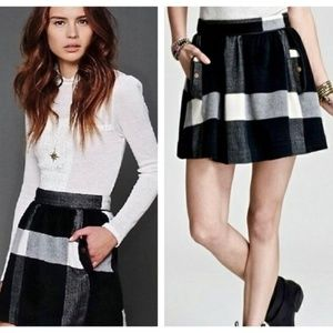 Free People Plaid Check Wool Mini Skirt